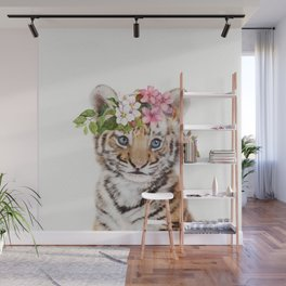 Tiger Cub with Flower Crown Wall Mural