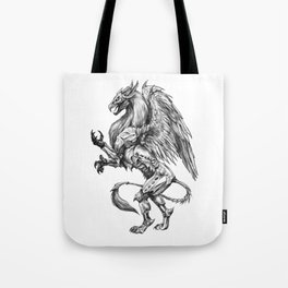 Dark Side Heraldic Griffin | Pencil Art Tote Bag