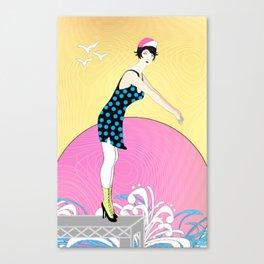 Art Deco Sweet Swimmer Lady Canvas Print
