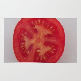 Lovely Red Tomato Sitting On A White Plate, Sliced Red Tomato Rug