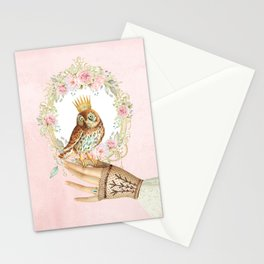 Owl on the hand Stationery Cards