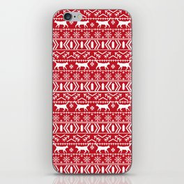 Fair Isle Cat sweater cats red and green christmas holiday sweater with cats for cat lovers iPhone Skin