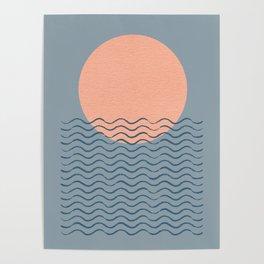 Ocean Wave Sun Blue - Mid Century Modern Poster