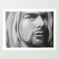 kurt cobain Art Prints featuring Kurt Cobain by Robyn Warren