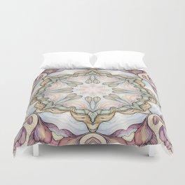 purple flowers hand drawn and  kaleidoscope mandala Duvet Cover
