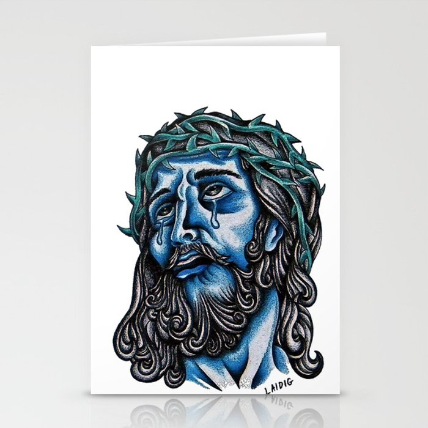 The Blue Jesus  Stationery Cards