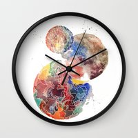 planets Wall Clocks featuring Planets by emluluna