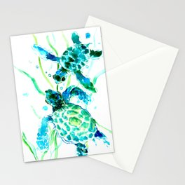 Sea Turtles, Turquoise blue Design Stationery Cards