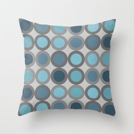 Grey blue circle 6 Throw Pillow