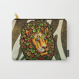 Lion with curly mane (yellow green orange rasta lions wild zebra) Carry-All Pouch