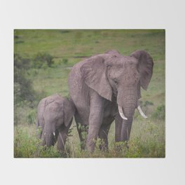 Mother and Calf African Elephant Throw Blanket