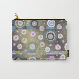 grunge,Gold, Rose, Blue, retro pattern, balls, stripes, shiny Carry-All Pouch