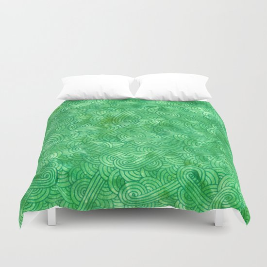 Green swirls doodles Duvet Cover