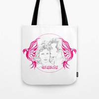 grease Tote Bags featuring Grease (Sketch & bird design) by Rene Alberto