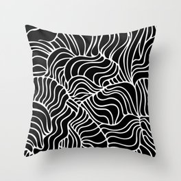 Black & White Tropical Noir Throw Pillow
