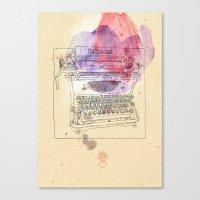 typewriter Canvas Prints featuring typewriter by Sabine Israel