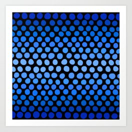 China Blue and Azure Blue Dots Ombre Art Print