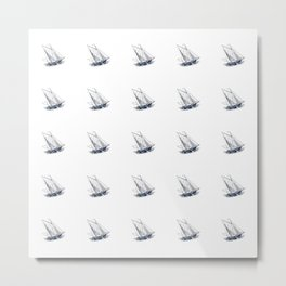 Nautical Marine Anchor Ship Seamless Pattern Metal Print