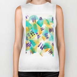180803 August Abstract 11| Colorful Abstract | Watercolors Brush Patterns Biker Tank