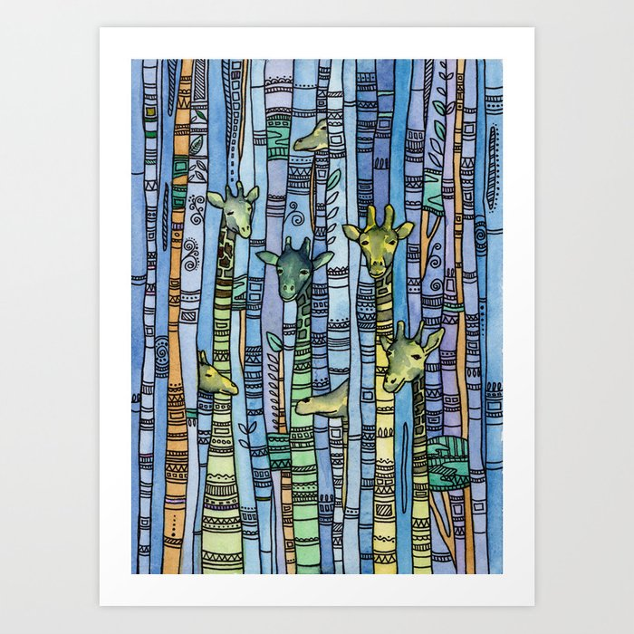 Abstract Giraffe Art Blue Modern Watercolor Illustration Animal Print Navy Home Decor Gift By Remioniart