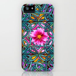 Lilac & Aqua Fuchsia Dahlias Inter-twining Art Nouveau iPhone Case