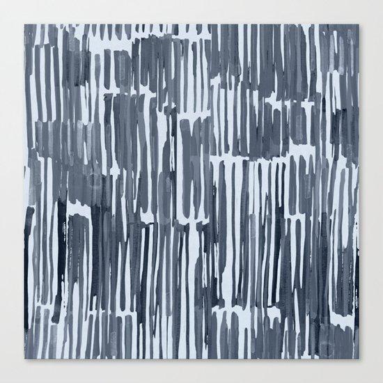 Simply Bamboo Brushstroke Indigo Blue on Sky Blue Canvas Print