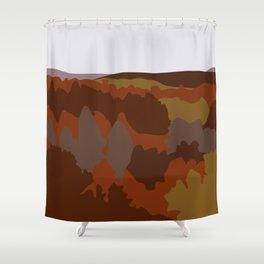 Graphic Fall Mountain Landscape (Orange) Shower Curtain