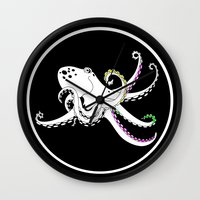octopus Wall Clocks featuring Octopus by mailboxdisco