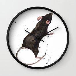 Rat, rodent painting, black rat, ratty, watercolor rat, rat pillow cover Wall Clock