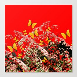 RED GARDEN ART OF YELLOW BUTTERFLIES & LACEY FLOWERS Canvas Print