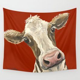 Cute Cow Painting, Red Cow Painting Wall Tapestry