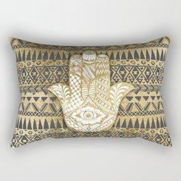 Faux Print Gold Hamsa Hand and Tribal Aztec Rectangular Pillow