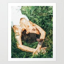 Jungle Vacay #painting #portrait Art Print