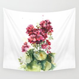 Watercolor geranium flowers Wall Tapestry