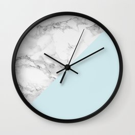 Marble + Pastel Blue Wall Clock