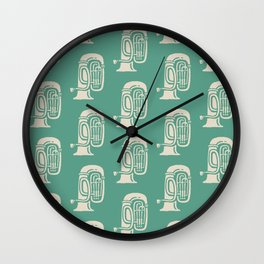Tuba Pattern Green and Beige Wall Clock