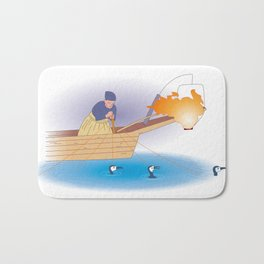Japanese Cormorant fishing Bath Mat