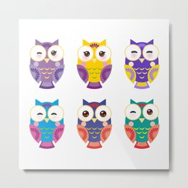 bright colorful owls on white background Metal Print