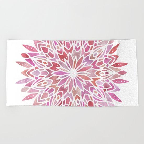 Mandala Pink Gold Beach Towel