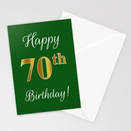 "Elegant ""Happy 70th Birthday!"" With Faux/Imitation Gold-Inspired Color Pattern Number (on Green) Stationery Cards"