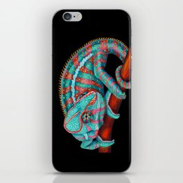 Panther Chameleon Turquoise Blue & Coral Red iPhone Skin