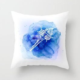 Blue Abstract Watercolor Seashell Rubber Stamp on White 2 Minimalist Coastal Art Throw Pillow
