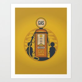 Retro Gas Pump Print Art Print