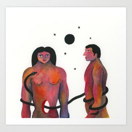 Adam and Eve in the small hours Art Print
