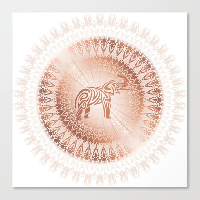 Rose Gold Elephant Mandala Canvas Print