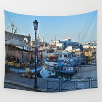 greek Wall Tapestries featuring Greek Boats by M. Gold Photography