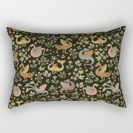 Dragons and Flowers muted pink Rectangular Pillow
