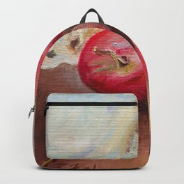 RED APPLES on the table Classic Still life Painting Backpack