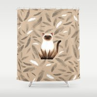 mew Shower Curtains featuring Siam cat by S.Y.Hong