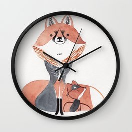 Moon fox Wall Clock